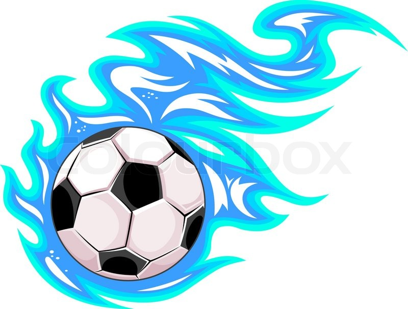 Championship Soccer Ball Or Football Leaving A Blue Trail As It