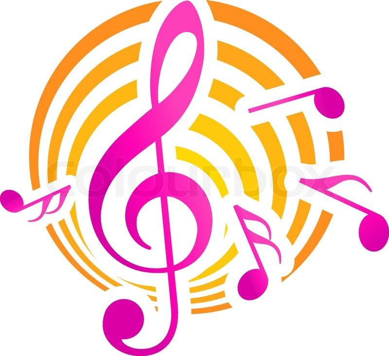 Treble clef musical themed icon over a yellow and pink circular motif
