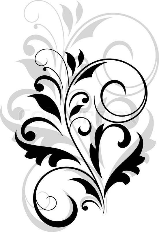 Floral Motif Of Leaves And Swirl Stock Vector Colourbox