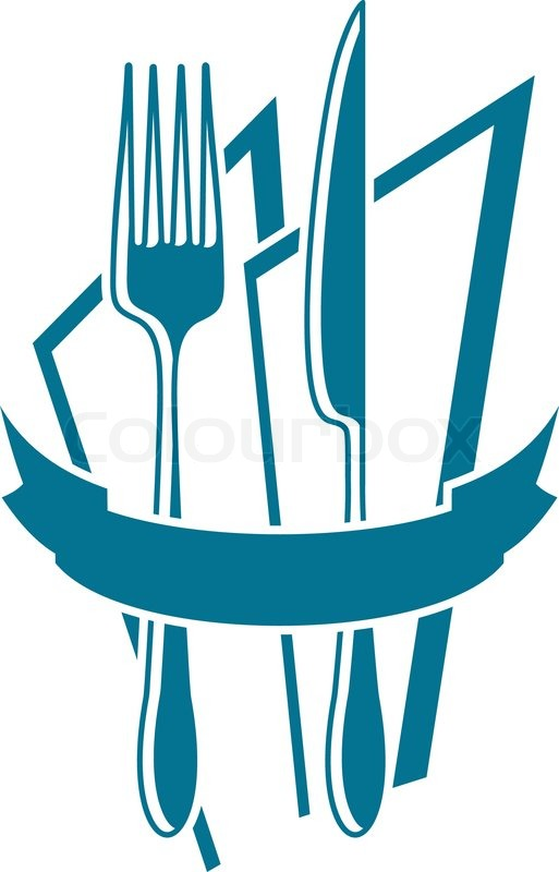 Knife Fork And Napkin Motif In Blue Over White With