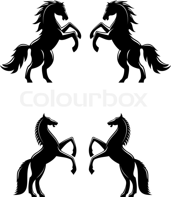 Two rearing up horses ...