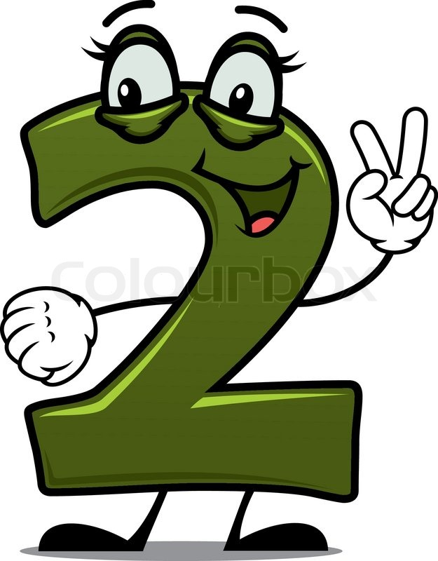 funny smiling number two in cartoon style stock vector colourbox