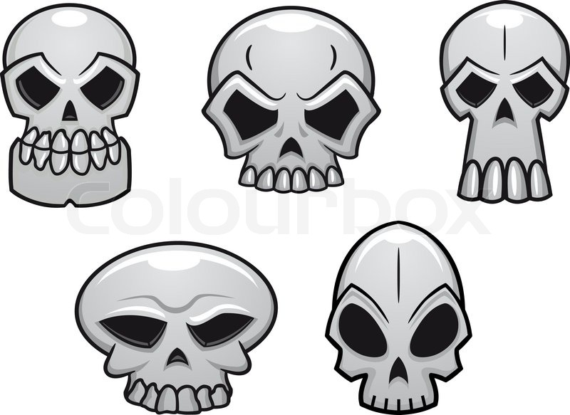 Different human skulls for halloween in cartoon style | Stock ...