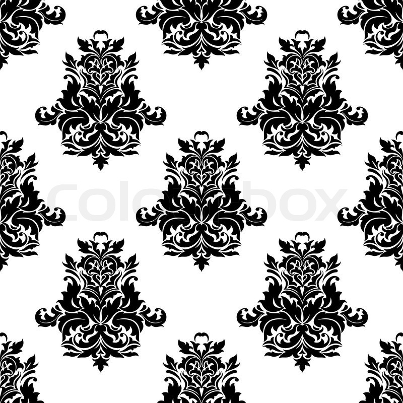 black and white foliate arabesque motif seamless pattern. Black Bedroom Furniture Sets. Home Design Ideas