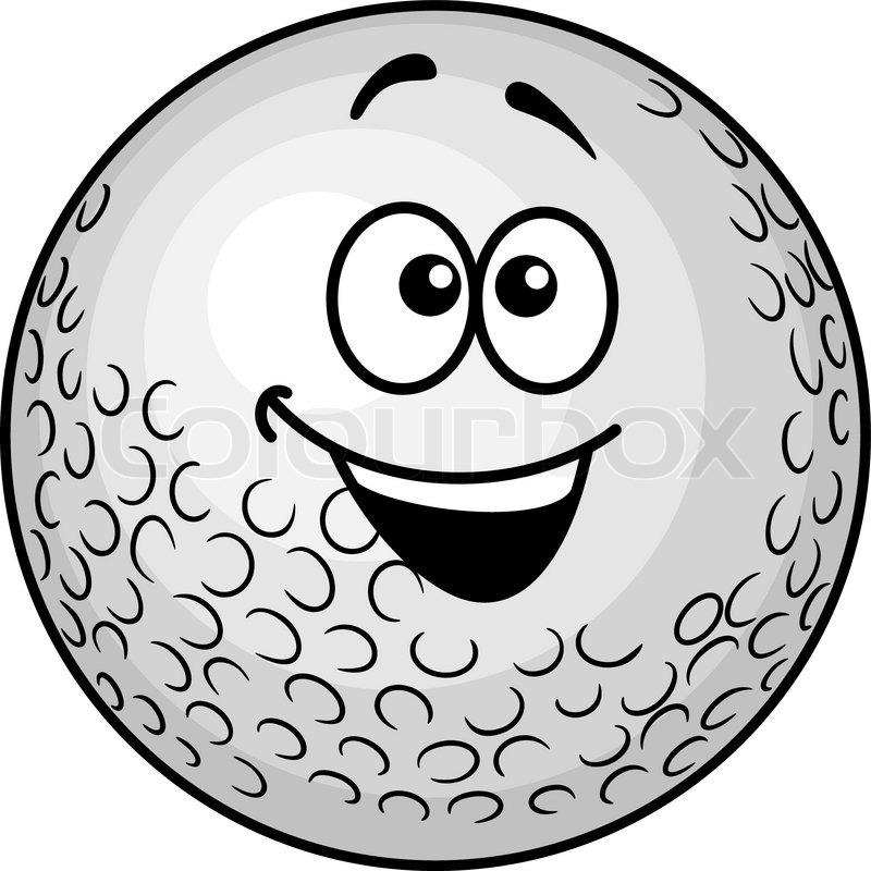 Lustige cartoon golfball vektorgrafik colourbox