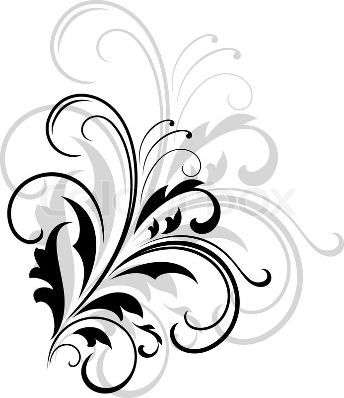 Simple black and white swirling foliate design with a larger repeat pattern in grey behind on a white background stock vector colourbox
