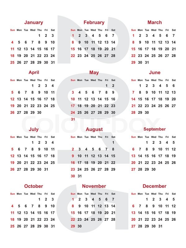 Stock vector 8 M images High quality images for web & print calendar for the year 2015.