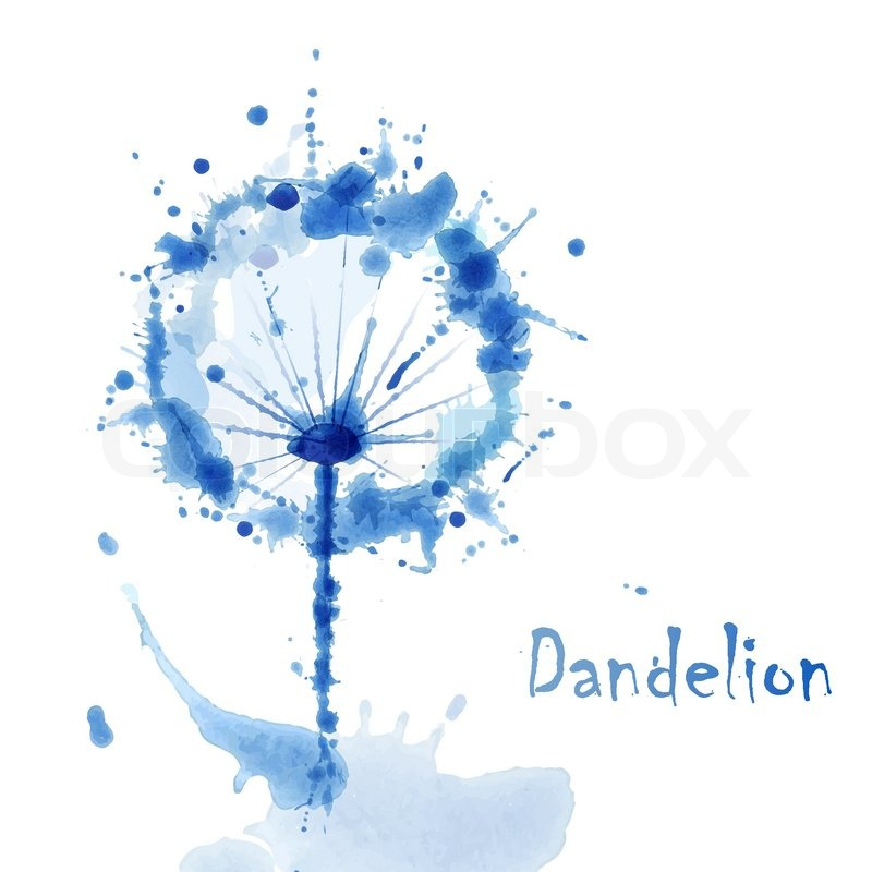Abstract Watercolor Art Hand Paint Background With Flower Dandelion Stock Vector Colourbox