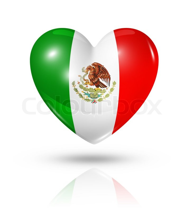 Love Mexico Symbol 3d Heart Flag Icon Isolated On White With