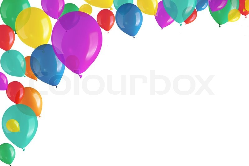 Childrens Party Colorful Balloons On White Background