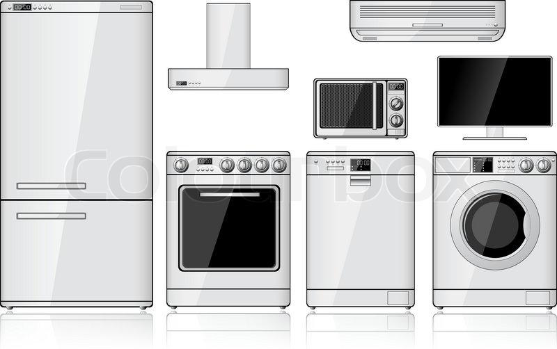 Satz von realistischen Haushaltsgeräte  Vektorgrafik  ~ Geschirrspülmaschine Zeichen