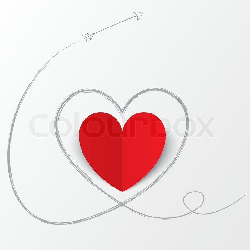 Rote Papier Herz mit Pfeil-Pfad. Valentinstag. | Vektorgrafik ...