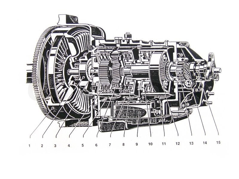 Car engine technical draw on white background | Stock Photo | Colourbox