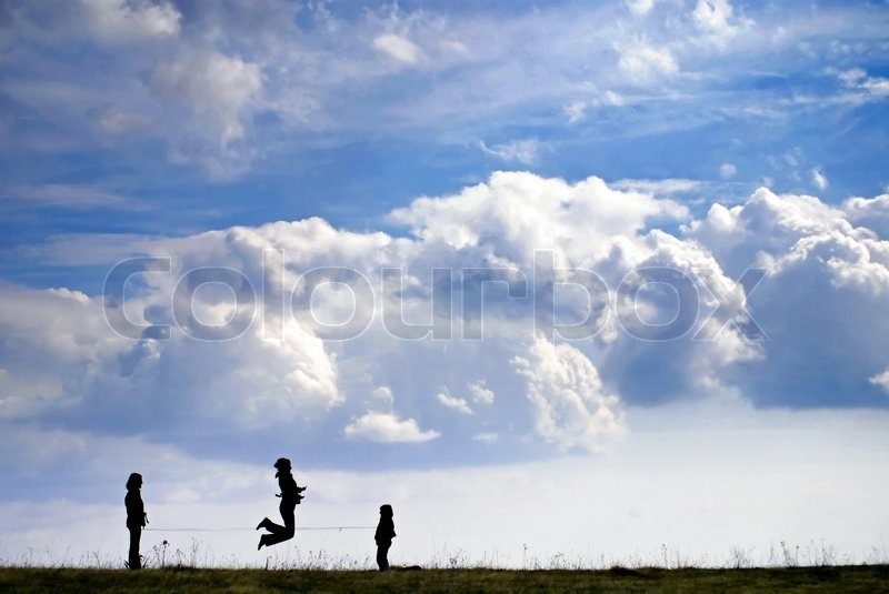 Playing games in nature, stock photo