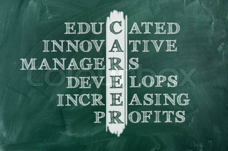 Career and other related words in acronym , handwritten in crossword on green blackboard, stock photo