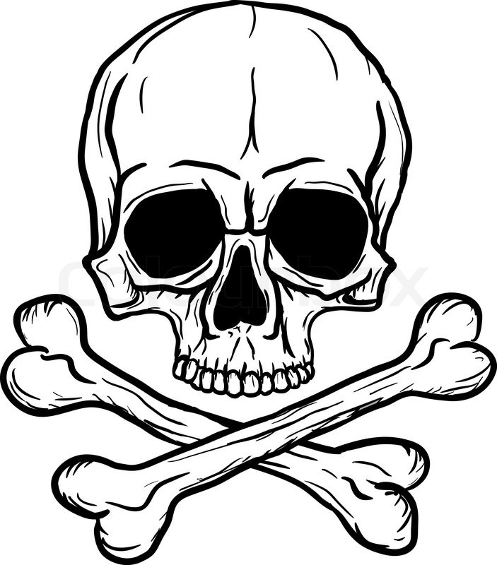 Skull and Crossbones isolated over white background | Stock Vector ...