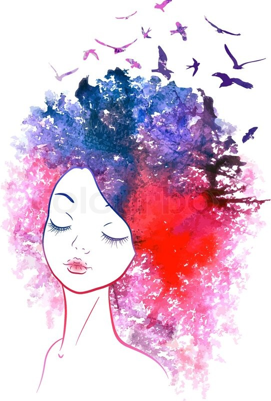 seasons pretty girl birds in her hair watercolor illustration