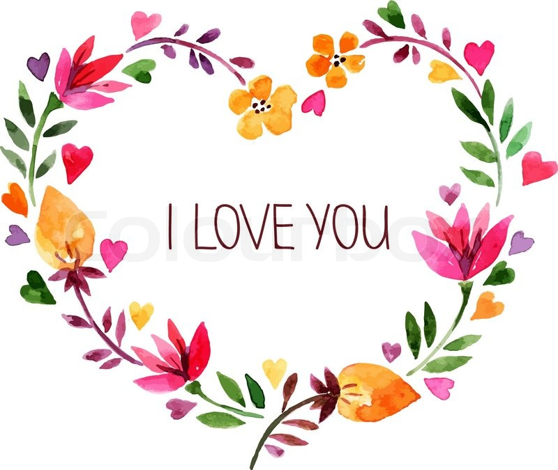 Love Card With Watercolor Floral Bouquet Valentine S Day Vector