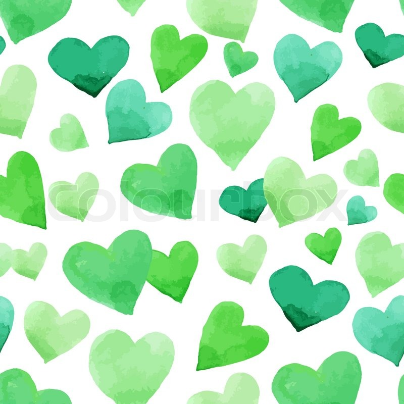Background With Watercolor Hearts Green Seamless Irish