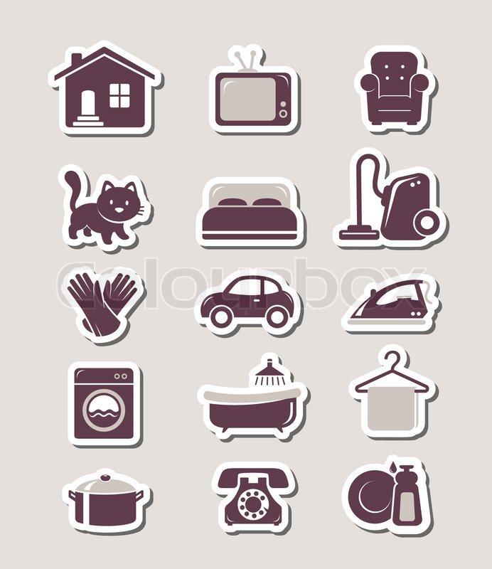 haushalt scherenschnitt symbole vektorgrafik colourbox. Black Bedroom Furniture Sets. Home Design Ideas