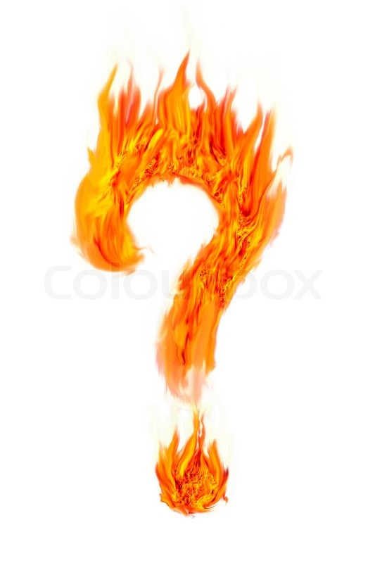 Fire Question Mark Symbol On Isolate Stock Photo Colourbox