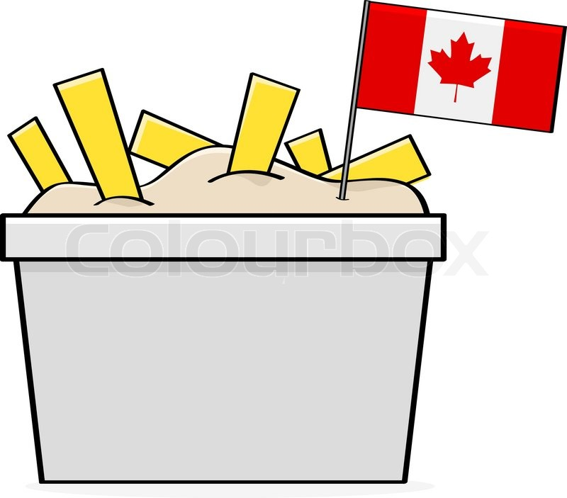 Traditional Canadian Food Cartoon Illustration Showing a Bowl of The Traditional Canadian Food Called