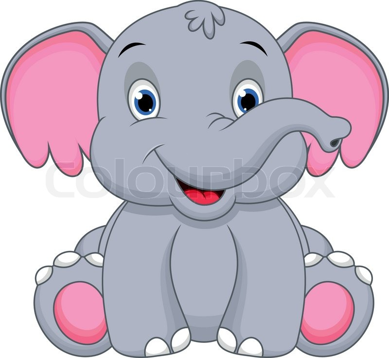 illustration of cute baby elephant cartoon stock vector colourbox rh colourbox com cute elephant clipart free cute baby elephant clipart