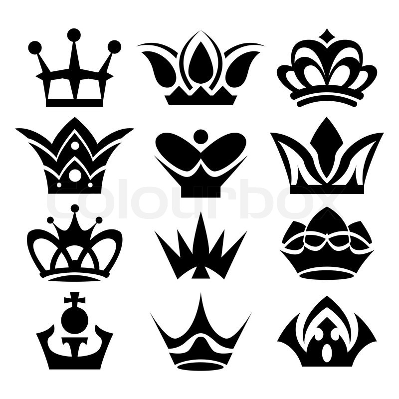 Vector Crowns Isolated On White Background Stock Vector Colourbox