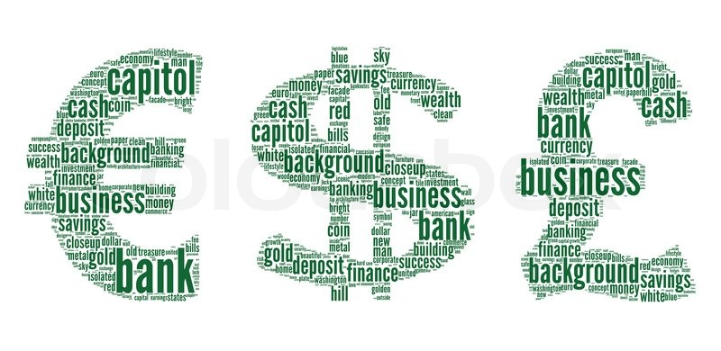 Dollareuropound Sign With Finance Terms Or Lingo Info Text