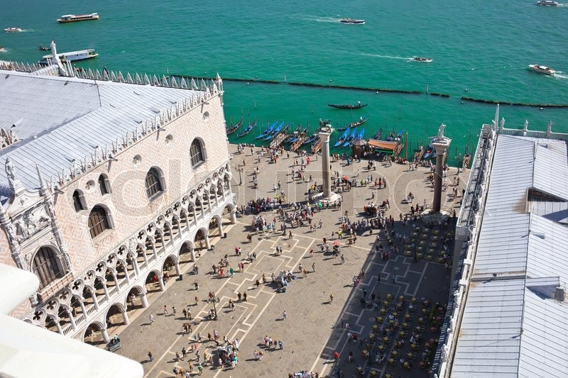 Beautiful view of San Marco square and Doge\'s Palace from bell tower, Venice, Italy, stock photo