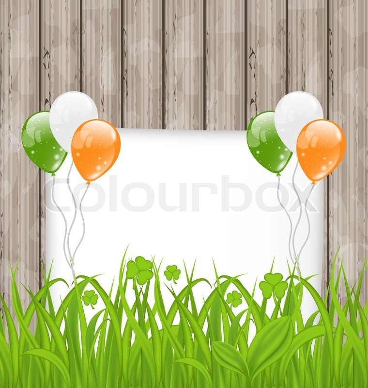 Illustration Greeting Card With Grass And Balloons In