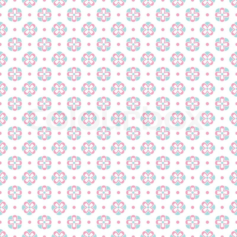 Shabby Chic Pink And Blue Colors On White Background Endless Texture Can Be Used For Printing Onto Fabric Paper Or Scrap Booking