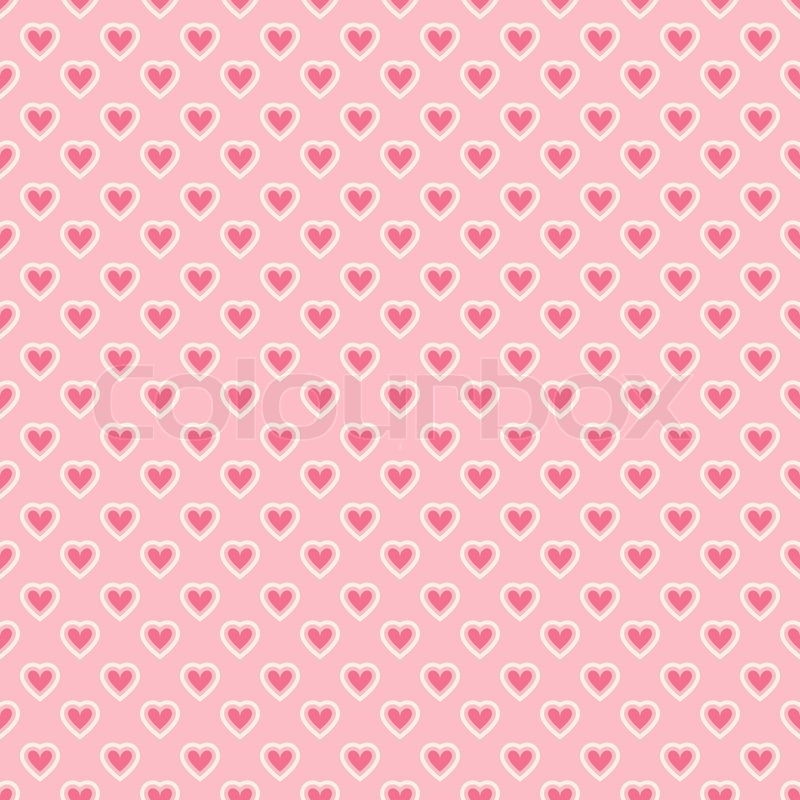 Heart shape vector seamless pattern tiling Pink color Endless