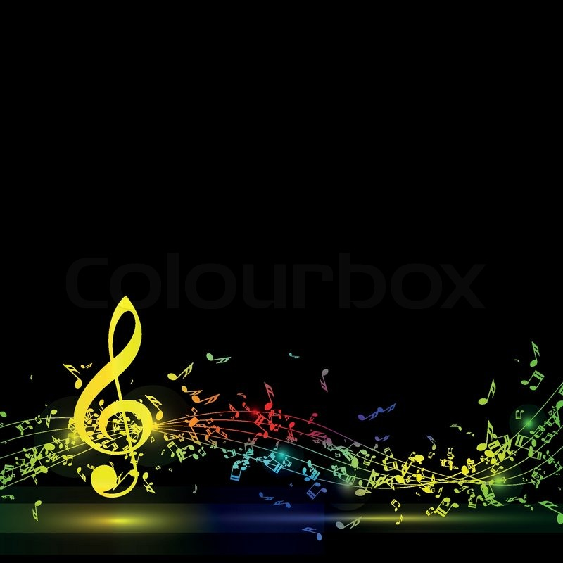 Musical Notes Staff Background On Black Vector