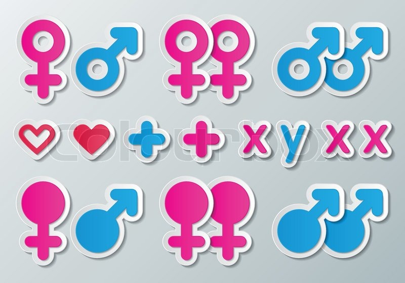 Paper Male And Female Symbols Combination With Heart Plus And