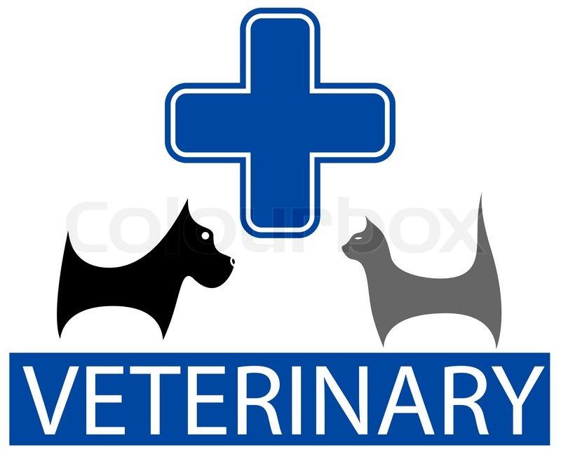 Cute Veterinary Symbol With Isolated Cartoon Pet Stock Vector