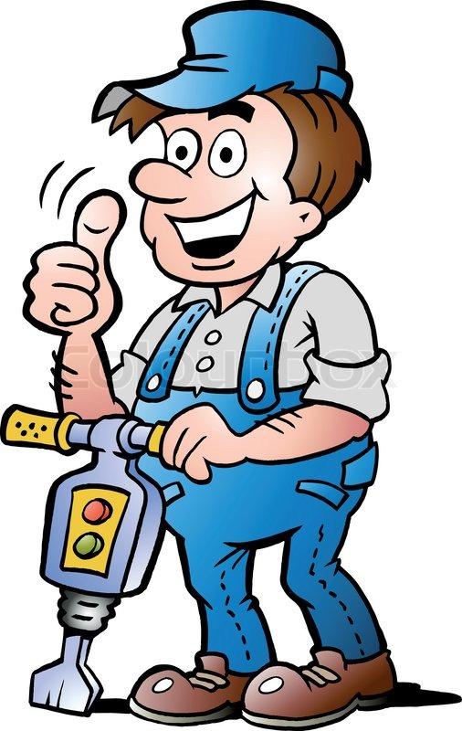 Bauarbeiter clipart schwarz weiß  Handgezeichnete Vektor-Illustration für eine glückliche ...