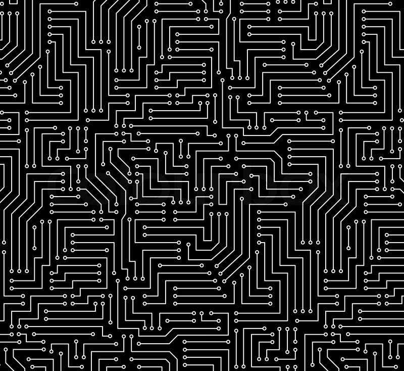 black and white printed circuit board seamless background with