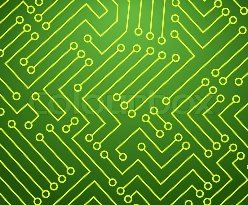 Green and Yellow Printed Circuit Board Seamless Background with ...