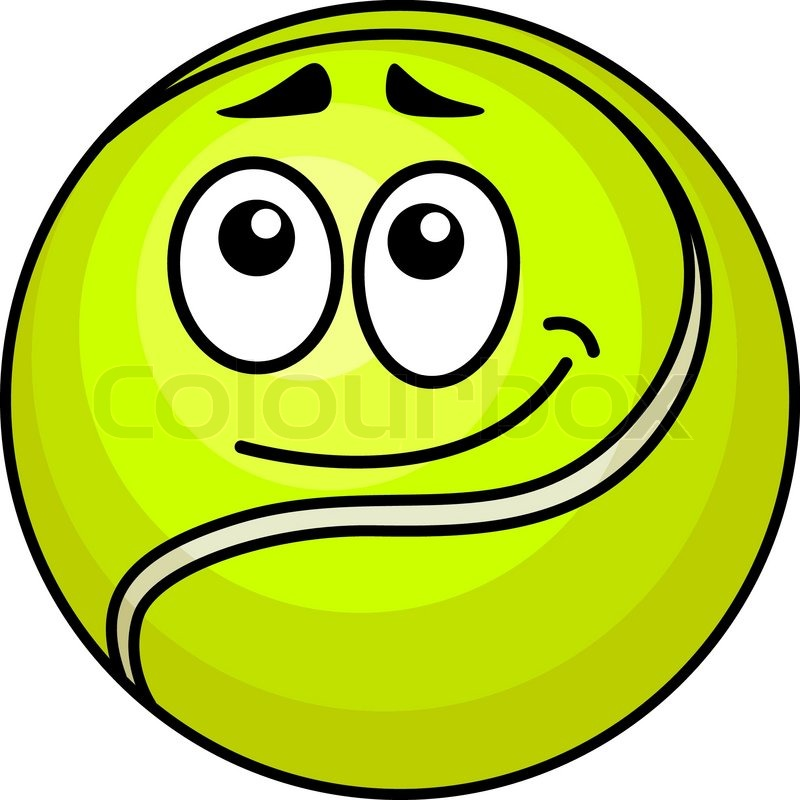 Vector Illustration Of A Cute Little Fluorescent Green Cartoon Tennis Ball With A Wry Smile And