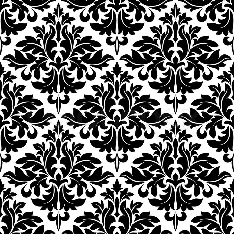 Black and white floral arabesque pattern with a geometric ...