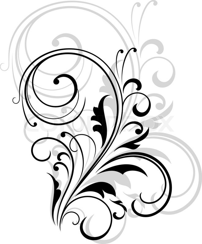 Simple black and white swirling floral element with a repeat enlarged pattern behind for an elegant retro design vector illustration stock vector