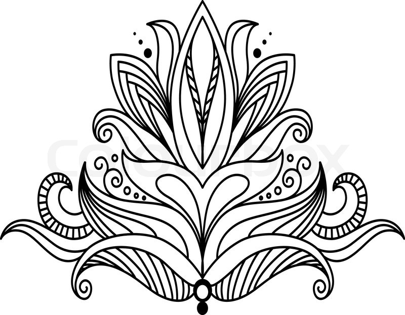 Black and white outline vector illustration of a single symmetrical floral  design element | Stock Vector