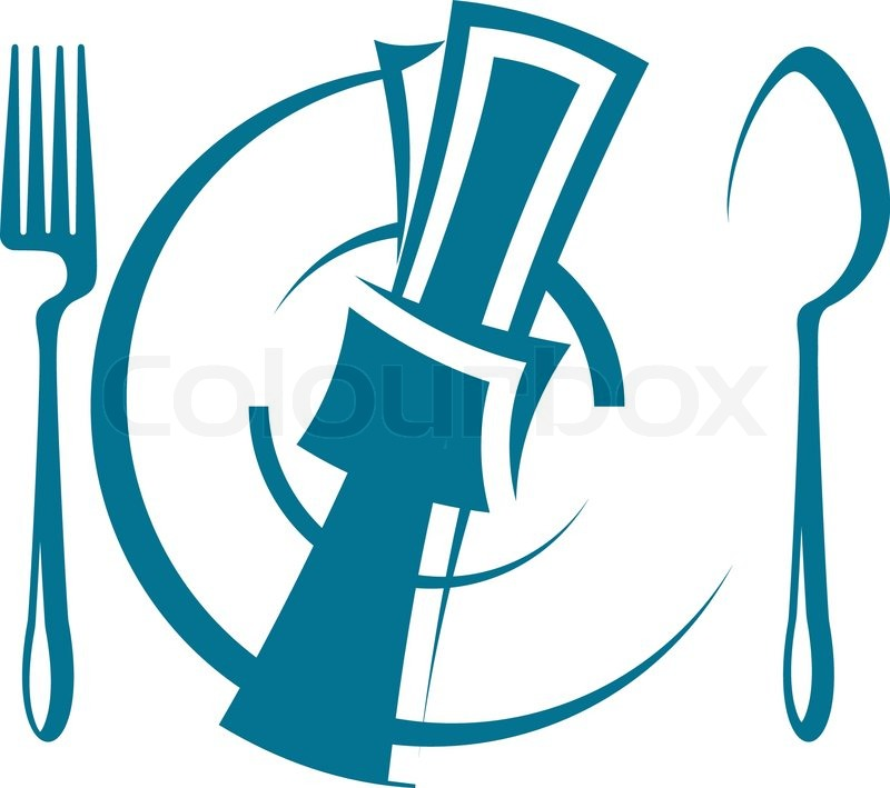 Cartoon sketch of a stylized dinnertime table setting with ...