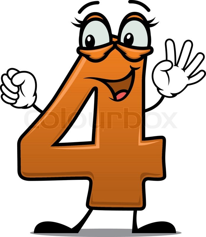 Vector Cartoon Illustration Of An Excited Happy Number 4