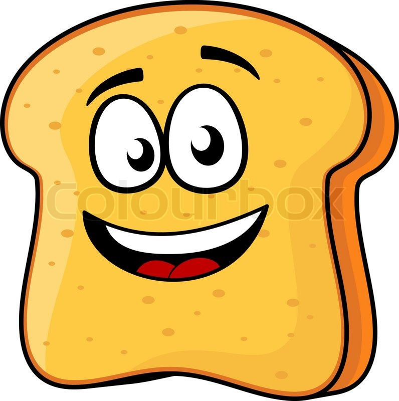 vector cartoon illustration of a happy slice of bread or toast with a beaming smile isolated on