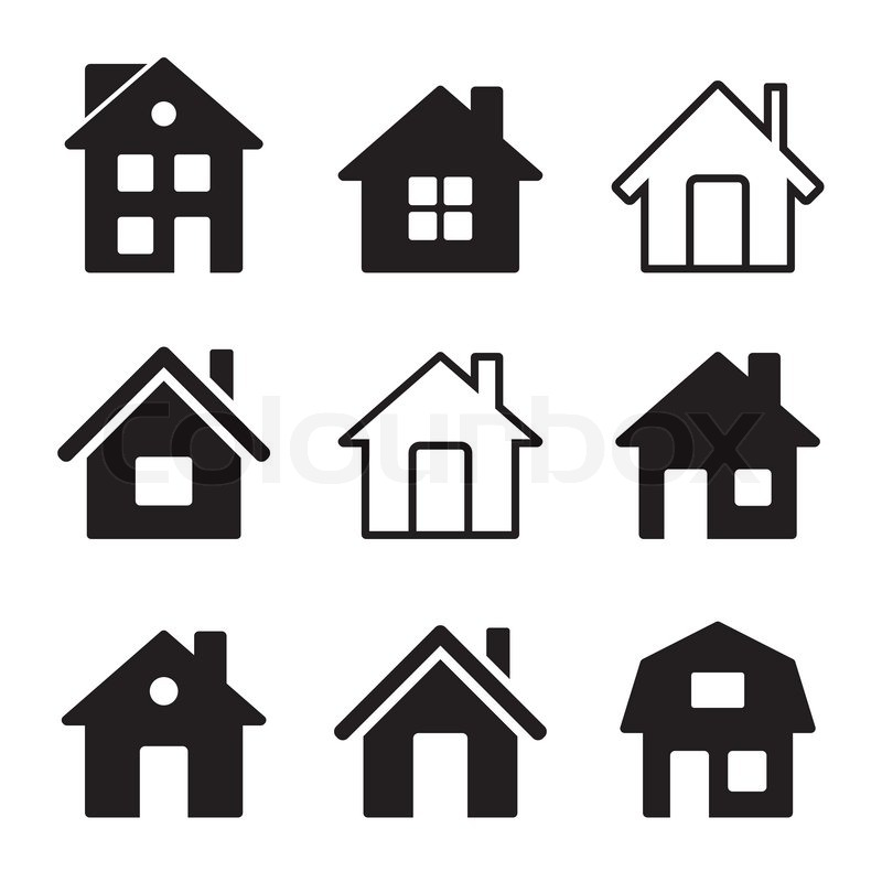 haus ikonen auf wei festgelegt vektorgrafik colourbox. Black Bedroom Furniture Sets. Home Design Ideas