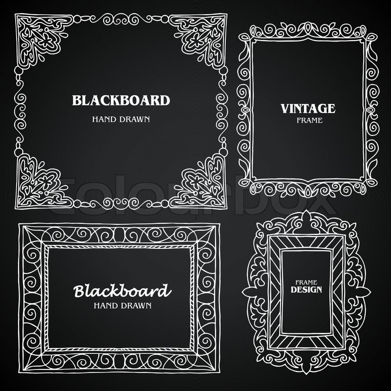 vintage photo frames set chalkboard design elements drawing doodle