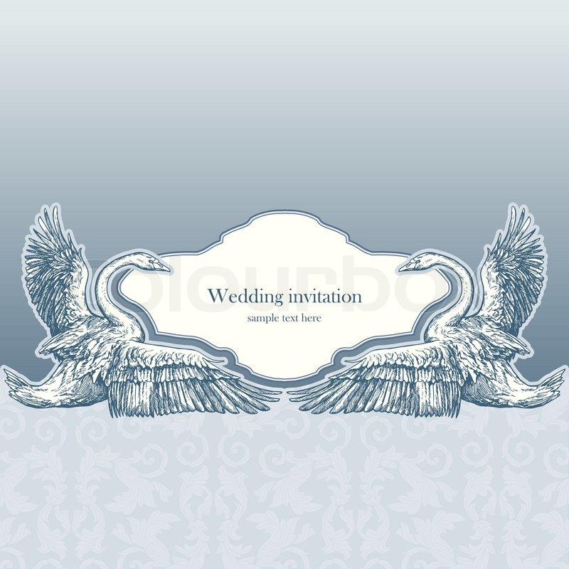 vintage wedding invitation card antique background luxury greeting card beautiful ornamental page cover with swans floral elegant design stock vector - Wedding Invitation Background