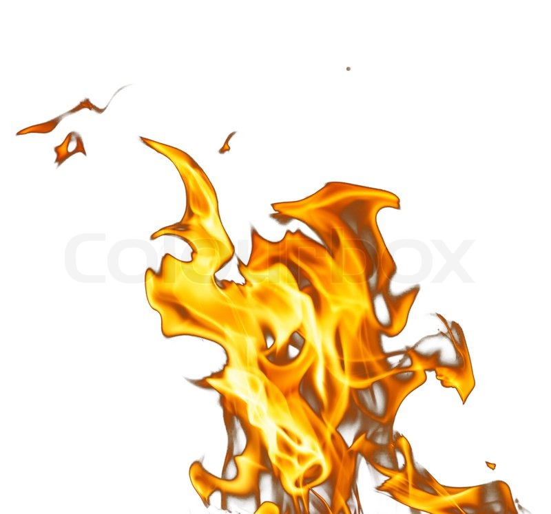Fire flames on a white background, stock photo